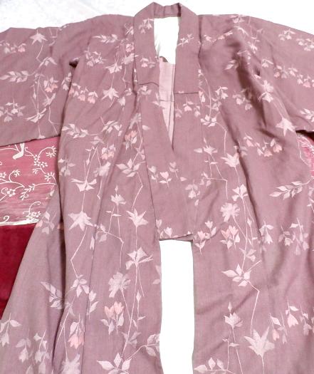 紫暗紅色紅葉柄/和服/着物 Purple dark red autumn leaves pattern/Japanese clothes/kimono_画像5