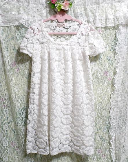 純白ホワイト編み花柄レースチュニック/ワンピース Pure white knit floral pattern lace tunic/onepiece_画像2