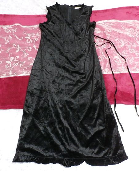 黒の光沢ノースリーブ紐付きワンピース Black luster sleeveless tied dress_画像1