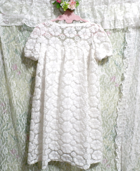 純白ホワイト編み花柄レースチュニック/ワンピース Pure white knit floral pattern lace tunic/onepiece_画像3