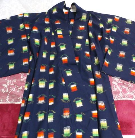 鉄紺色灯模様/和服/着物 Iron navy color/Japanese clothes/kimono_画像1