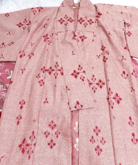 桃色撫子なでしこ色紅葉柄/和服/着物 Autumn leaves pattern/Japanese clothing/kimono_画像8