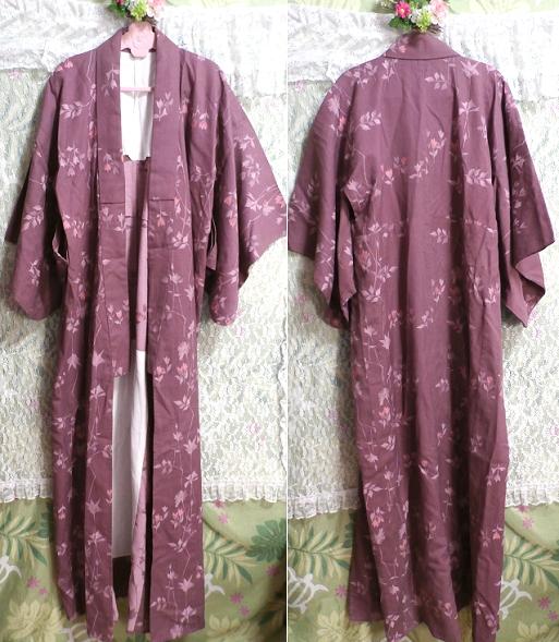 紫暗紅色紅葉柄/和服/着物 Purple dark red autumn leaves pattern/Japanese clothes/kimono_画像1