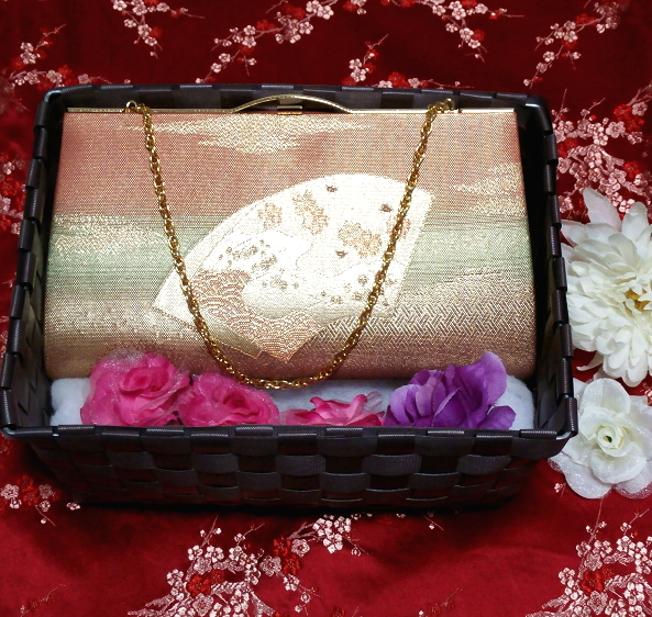 浅緋扇柄/和装和風和服着物鞄バッグ Japanese kimono bags_画像1