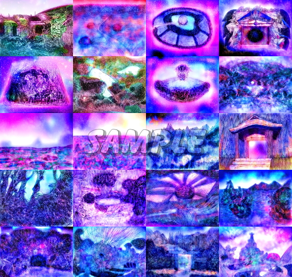 2L判不思議景色風景城森湖水オリジナルイラストアート絵カラーCG66枚 Variety landscape lake water originalart picture printing CG 66p_画像1
