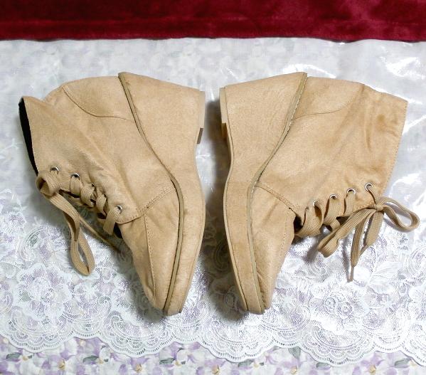 亜麻色ベージュ紐靴スニーカー10cm/厚底レディース靴 Flax color beige shoes sneaker 3.93 in/thick bottom women's shoes_画像2