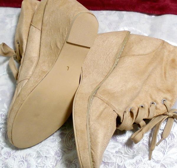 亜麻色ベージュ紐靴スニーカー10cm/厚底レディース靴 Flax color beige shoes sneaker 3.93 in/thick bottom women's shoes_画像3
