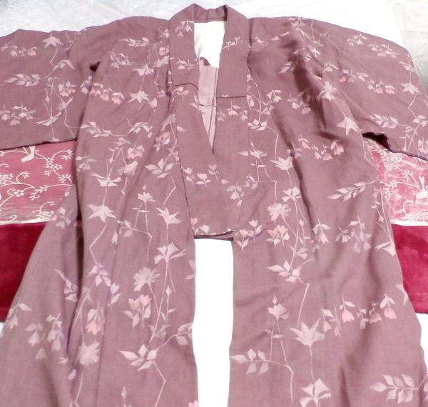紫暗紅色紅葉柄/和服/着物 Purple dark red autumn leaves pattern/Japanese clothes/kimono_画像2