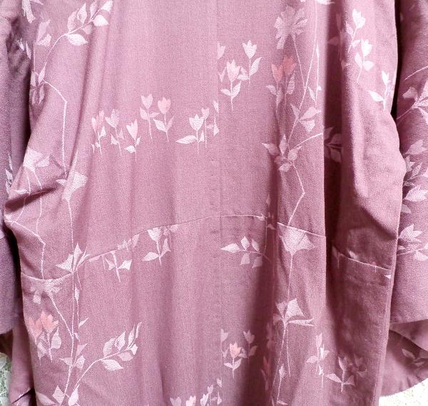 紫暗紅色紅葉柄/和服/着物 Purple dark red autumn leaves pattern/Japanese clothes/kimono_画像3