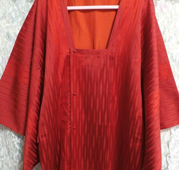 すずのき135cm赤深緋色半天羽織/和服/着物 Red deep scarlet coat/Japanese clothing/kimono_画像2
