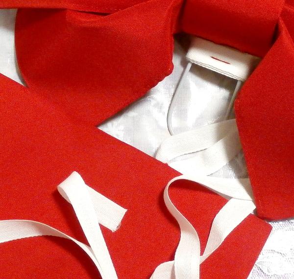 深緋赤色可愛いりぼんつけ帯/和服 Deep scarlet red cute ribbon kimono_画像3