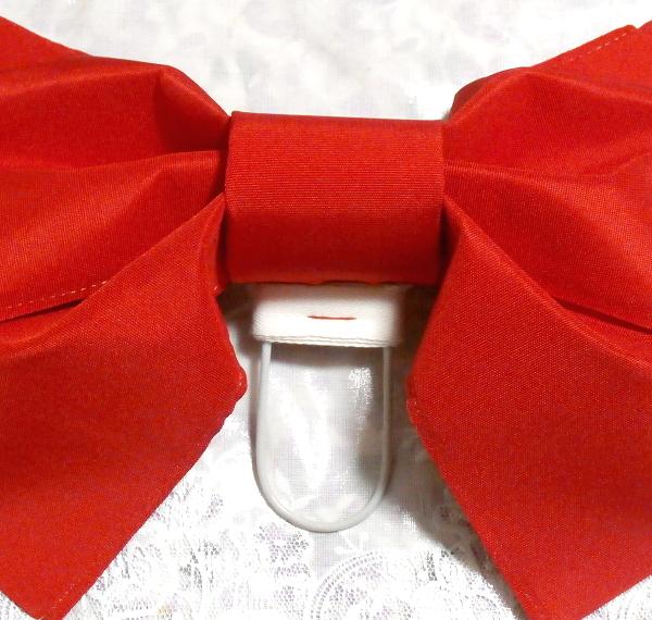 深緋赤色可愛いりぼんつけ帯/和服 Deep scarlet red cute ribbon kimono_画像4