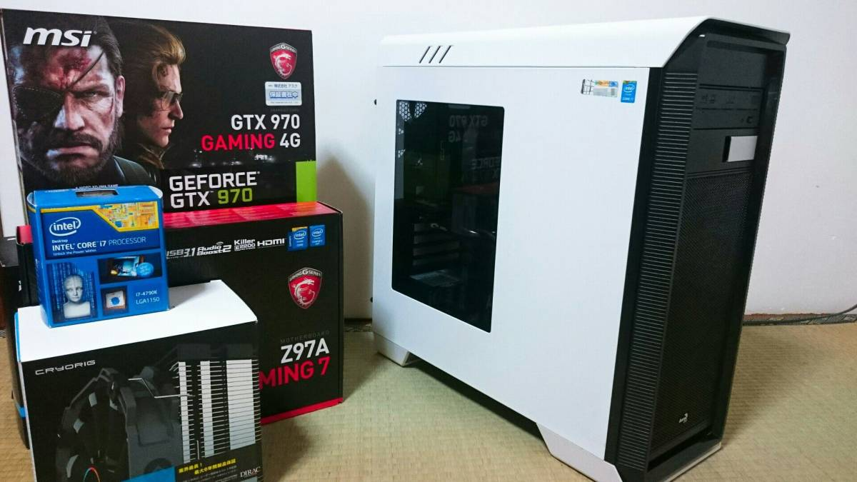 【自作ゲーミングPC】Core i7 4790K/GTX970/メモリ16GB/電源80PLUS PLATINUM 750W/Z97A Gaming7/HDD 2TB