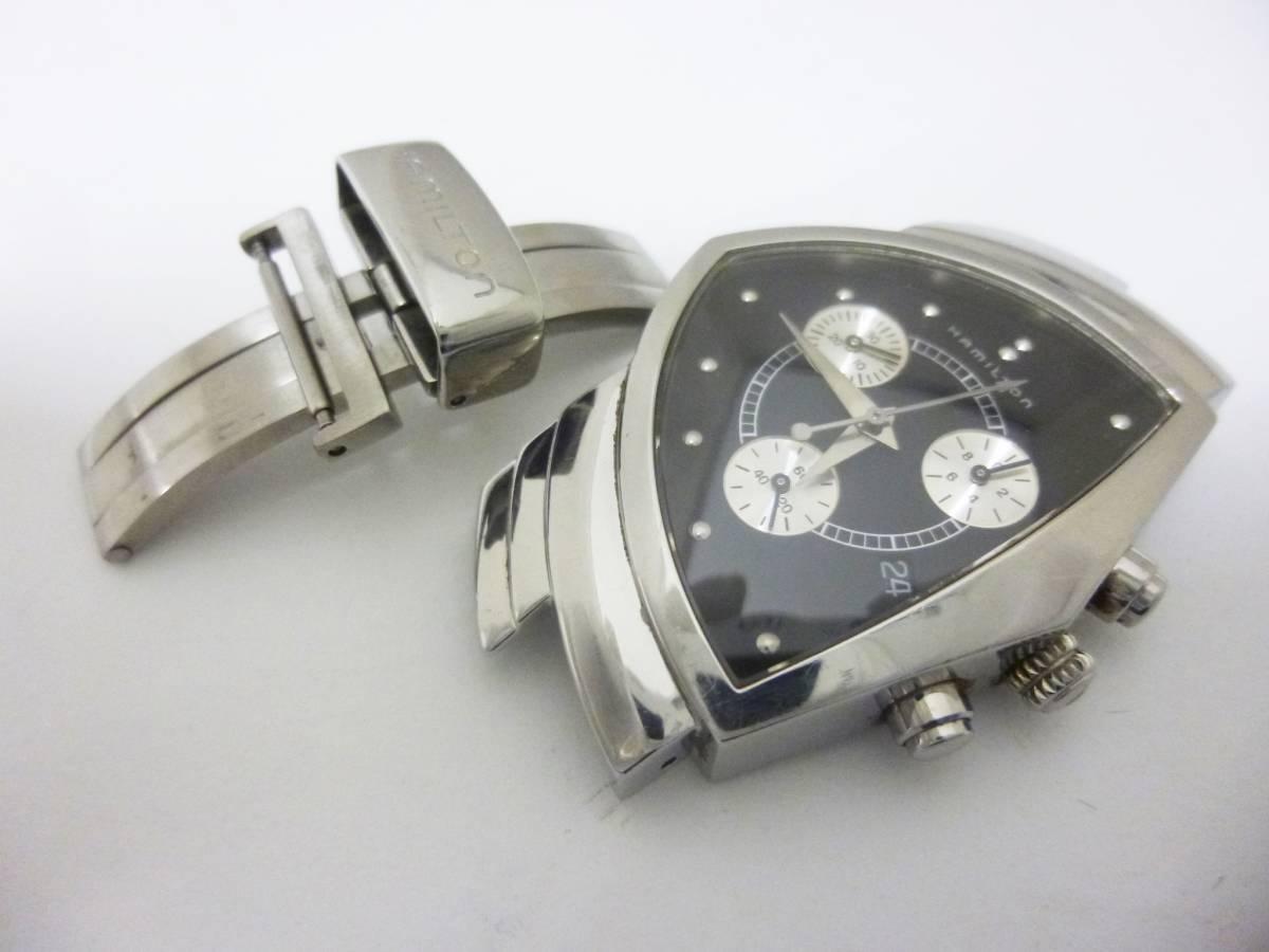 ★1円 ジャンク品★ハミルトン ベンチュラ クロノグラフ H244121 黒文字盤 クォーツ メンズ腕時計 稼働品★