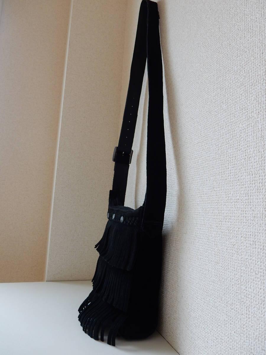 本革☆MINNE TONKA(ミネトンカ)牛革スウェード・フリンジショルダーバッグ ブラック_サイド