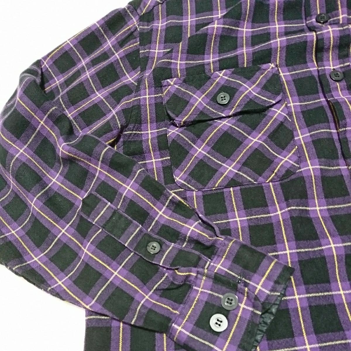 (古着35)NORTH CREST 紫×黒チェック柄 長袖シャツ サイズS
