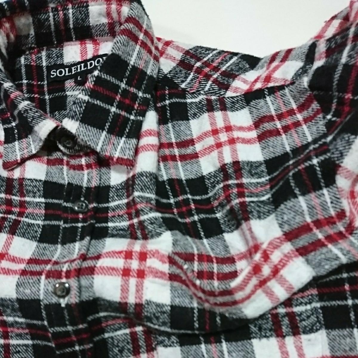 (古着54)SOLEILDOR 黒×白 赤ライン チェック柄 長袖シャツ サイズL