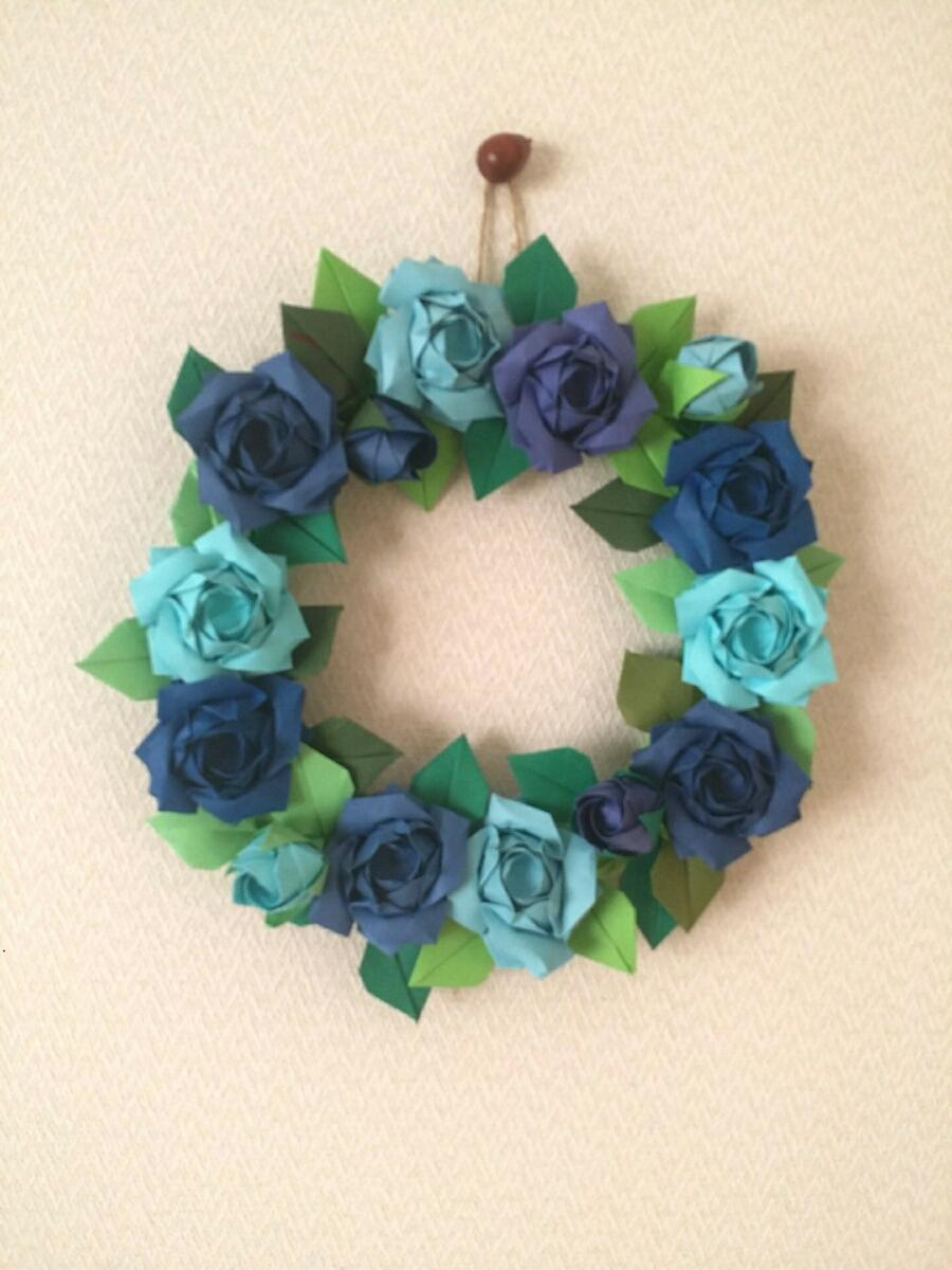 折り紙 バラ 青系 リース 壁面飾り ギフト