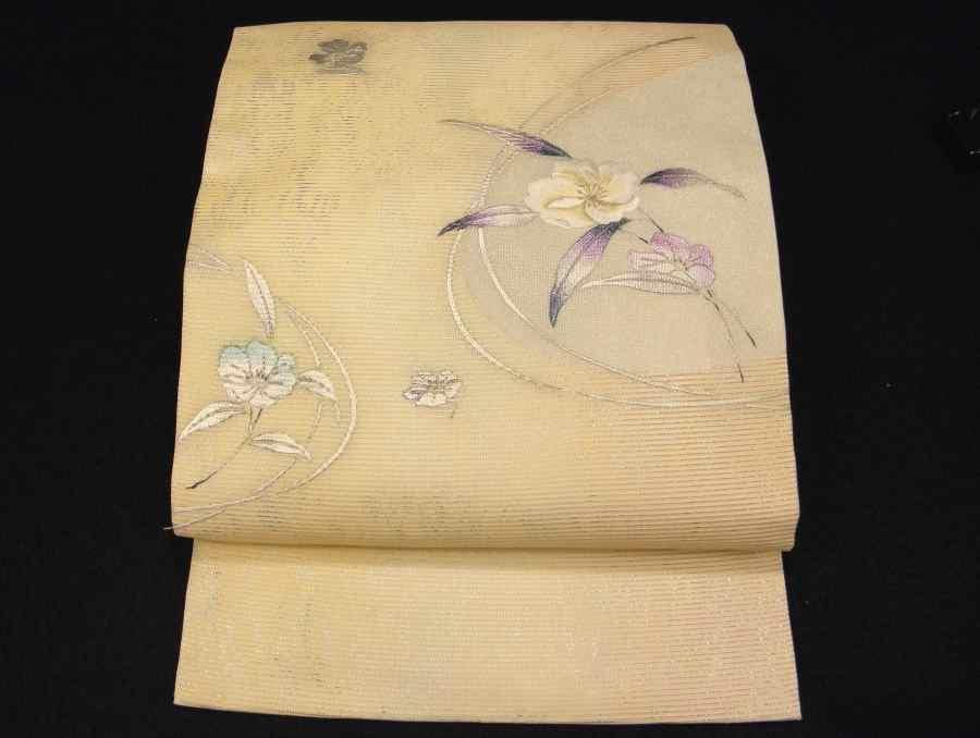 美しい色箔と刺繍の夏九寸名古屋帯です