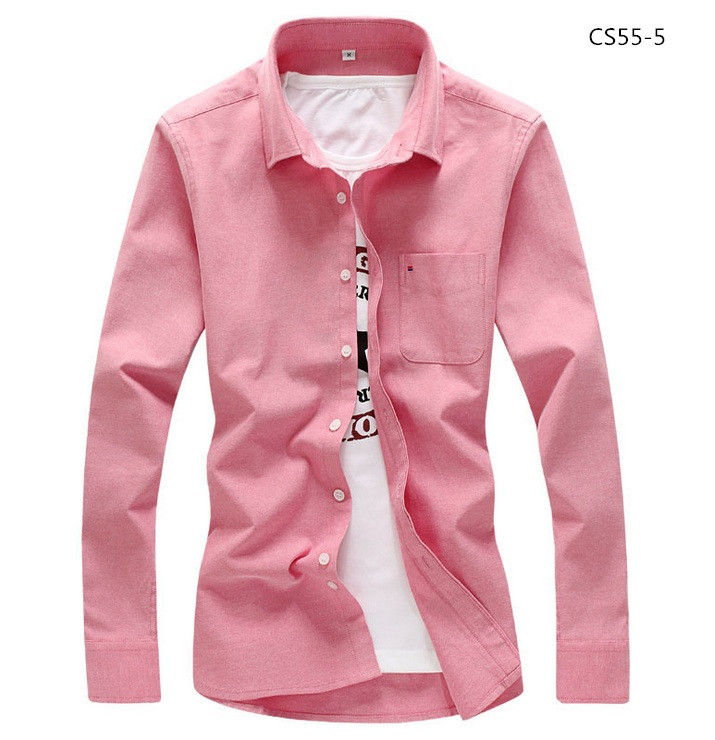 美品 メンズ 無地 カジュアルシャツ  細身長袖 ドレスシャツ  CS55-7 【S~7XL】黄_画像3