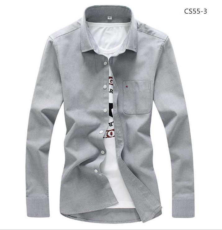 美品 メンズ 無地 カジュアルシャツ  細身長袖 ドレスシャツ  CS55-7 【S~7XL】黄_画像4