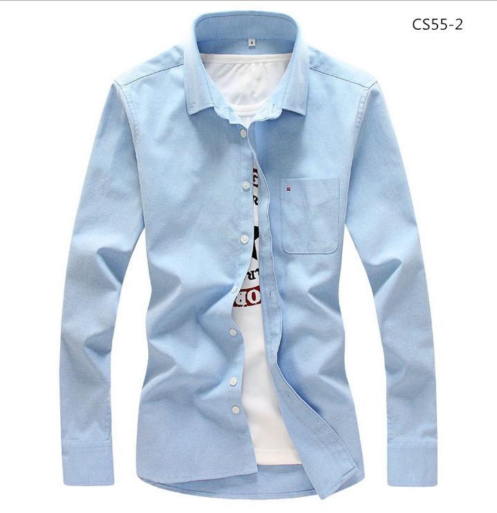 美品 メンズ 無地 カジュアルシャツ  細身長袖 ドレスシャツ  CS55-7 【S~7XL】黄_画像6