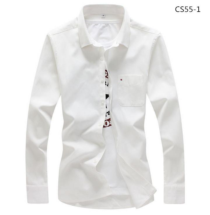 美品 メンズ 無地 カジュアルシャツ  細身長袖 ドレスシャツ  CS55-7 【S~7XL】黄_画像5