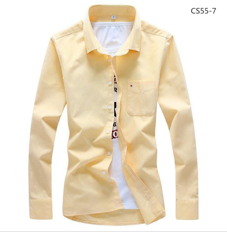 美品 メンズ 無地 カジュアルシャツ  細身長袖 ドレスシャツ  CS55-7 【S~7XL】黄