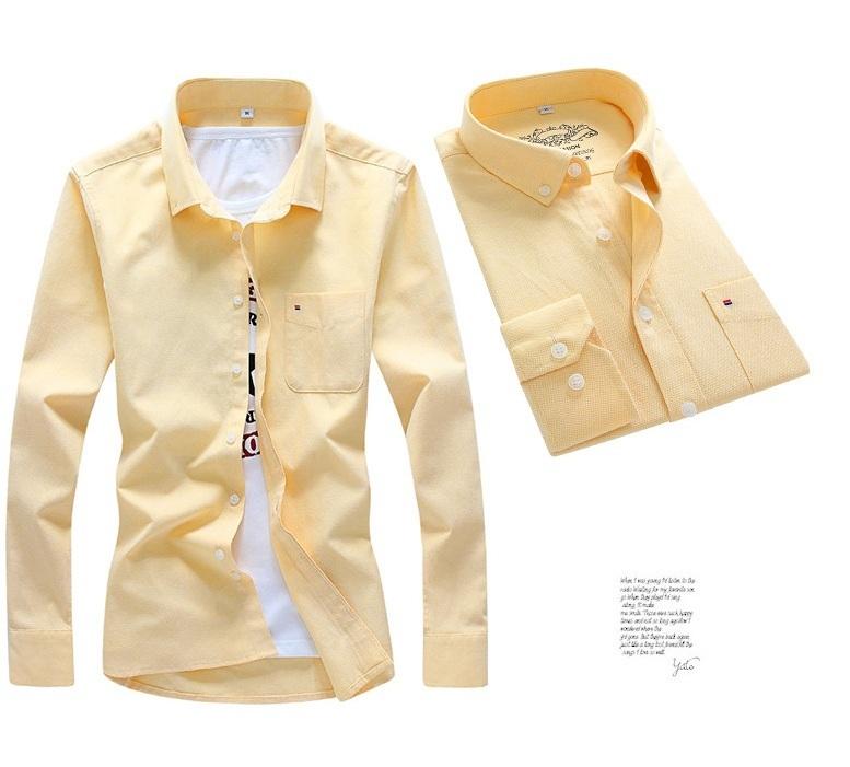美品 メンズ 無地 カジュアルシャツ  細身長袖 ドレスシャツ  CS55-7 【S~7XL】黄_画像2