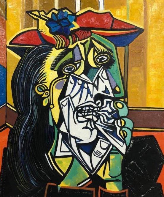 ◆Modern Art◆肉筆☆油絵☆F20号『泣く女』ピカソ/模写☆お部屋のイメージ替えに_画像1