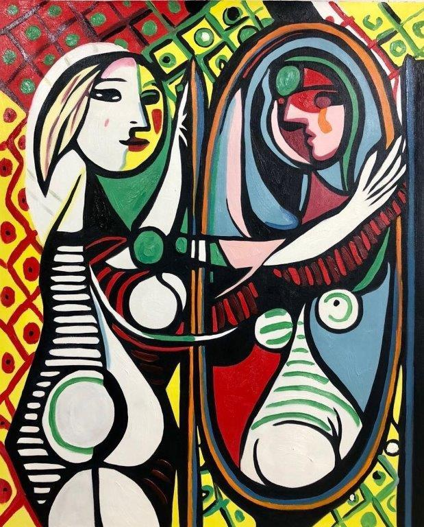 ◆Modern Art◆肉筆☆油絵☆F20号『鏡の中の少女』ピカソ/模写☆お部屋のイメージ替えに_画像1