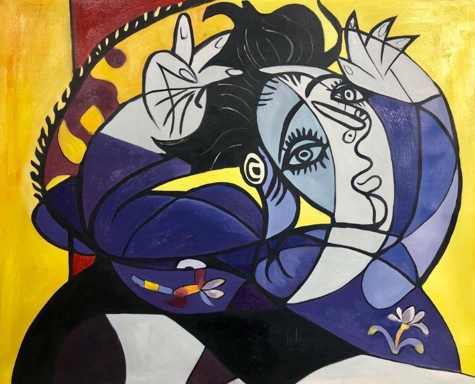 ◆Modern Art◆肉筆☆油絵☆F20号『femme sur un oreiller』ピカソ/模写☆お部屋のイメージ替えに_画像1