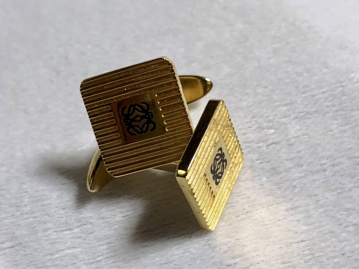 正規 ロエベ LOEWE アマソナ アナグラム ロゴ×ストライプカフス ゴールド アイコンカフリンクス スクエア×ヘアラインボタン ヴィンテージ_画像5