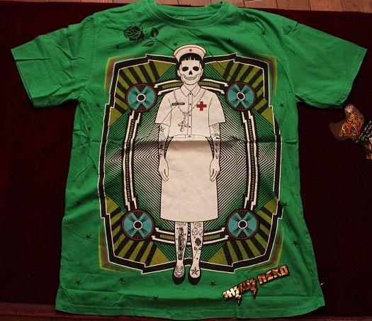Gasumaru ホラー メンズLLサイズ Tシャツ スチームパンク ハロウィン パンク ナース TATOO タトゥーHIPHOP 送料無料_画像2