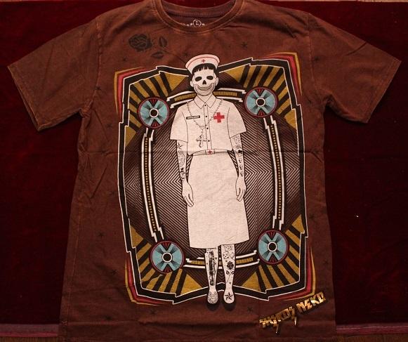 Gasumaru ホラー メンズLLサイズ Tシャツ スチームパンク ハロウィン パンク ナース TATOO タトゥーHIPHOP 送料無料_画像3