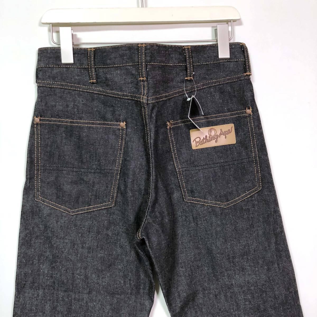 新品◆A BATHING APE ア ベイシング エイプ 2003 ブラックデニム パンツ ジーンズ Sサイズ /ラングラー風デザイン/日本製_画像7