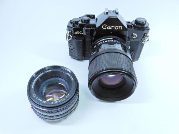 Canon ボディ A-1 レンズ2点 TAMRON SP 90mm 1:2.5 MINOLTA MD ROKKOR 50mm 1:1.7 シャッター確認済み