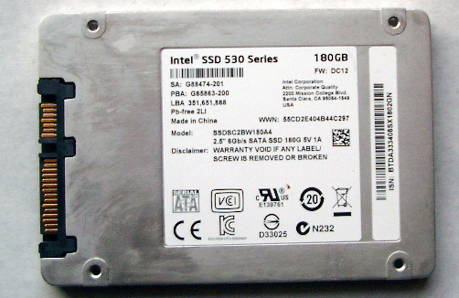 ☆Intel製2.5inch Serial ATA 530Series 180GB SSD中古②_画像2