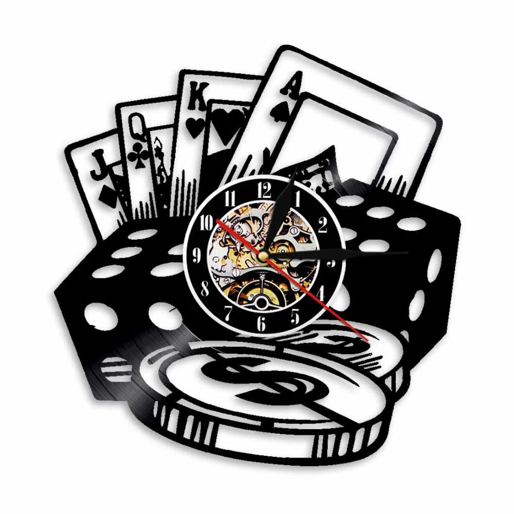 カジノ ラスベガス アメリカ $ コイン レコード クロック 時計 壁掛け時計 ウォールクロック POP DIY インテリア_画像1