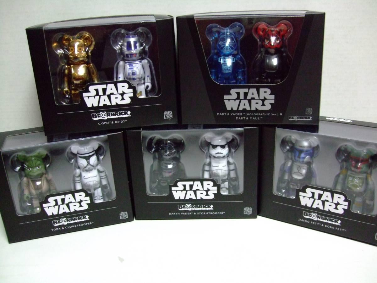 激レア スターウォーズ ベアブリック BOX SET 5種セット (BE@RBRICK STARWARS ダースベイダー ボバフェット R2-D2 C-3PO ヨーダ)_画像1