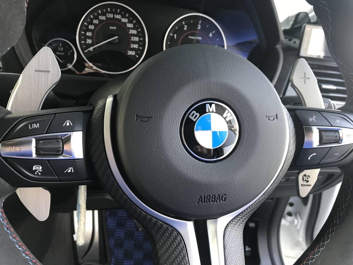 BMW M4 GTSステアリング & M Performanceカーボンカバー & 3Dデザインパドルシフター 3点セット_画像3