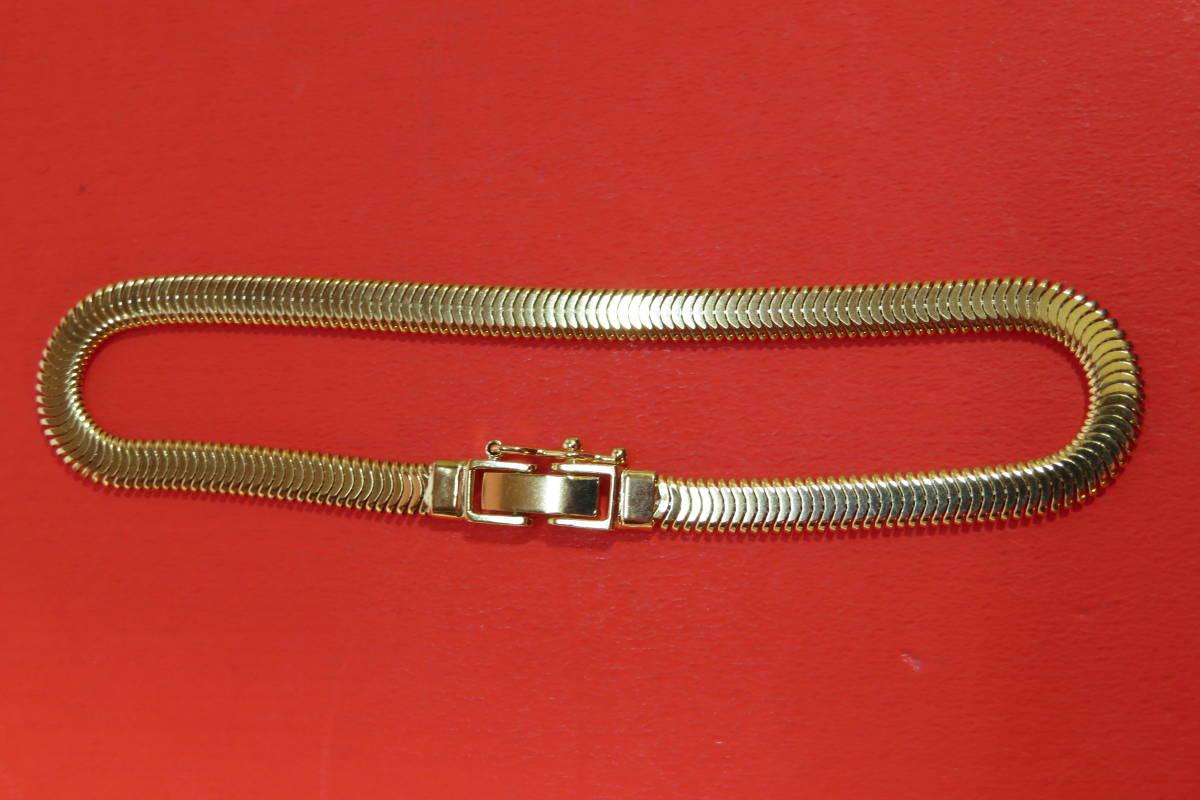 新品 k18 イエローゴールド  ブレスレット オーバル スネーク  チェーン   18 cm   7.64 g_画像3