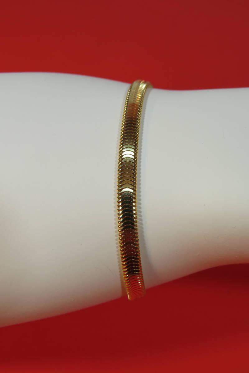 新品 k18 イエローゴールド  ブレスレット オーバル スネーク  チェーン   18 cm   7.64 g_画像1
