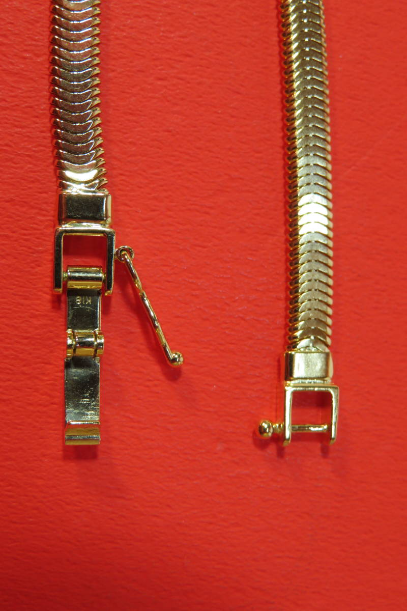 新品 k18 イエローゴールド  ブレスレット オーバル スネーク  チェーン   18 cm   7.64 g_画像4