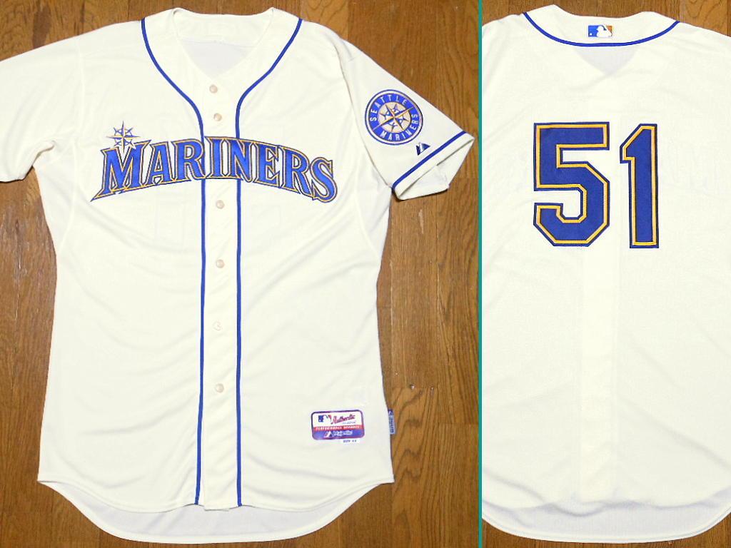 シアトル マリナーズ #51 イチロー サイズ44 イエロー オルタネート ジャージ Majestic ALT Jersey MLB ユニフォーム Mariners ICHIRO