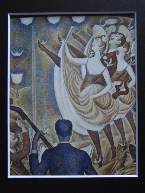 ジョルジュ・スーラ、【シャユ踊り】、新品高級額 額装付、年代物・希少画集画、状態良好、送料無料 人物画_画像3