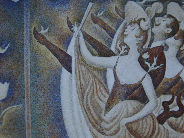 ジョルジュ・スーラ、【シャユ踊り】、新品高級額 額装付、年代物・希少画集画、状態良好、送料無料 人物画_画像2