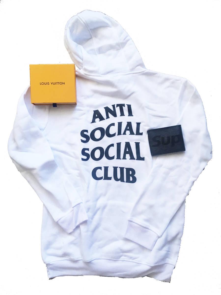 1円~♪ 白Lサイズ ANTI SOCIAL SOCIAL CLUB パーカー 使用感あり 【財布オマケ付き】