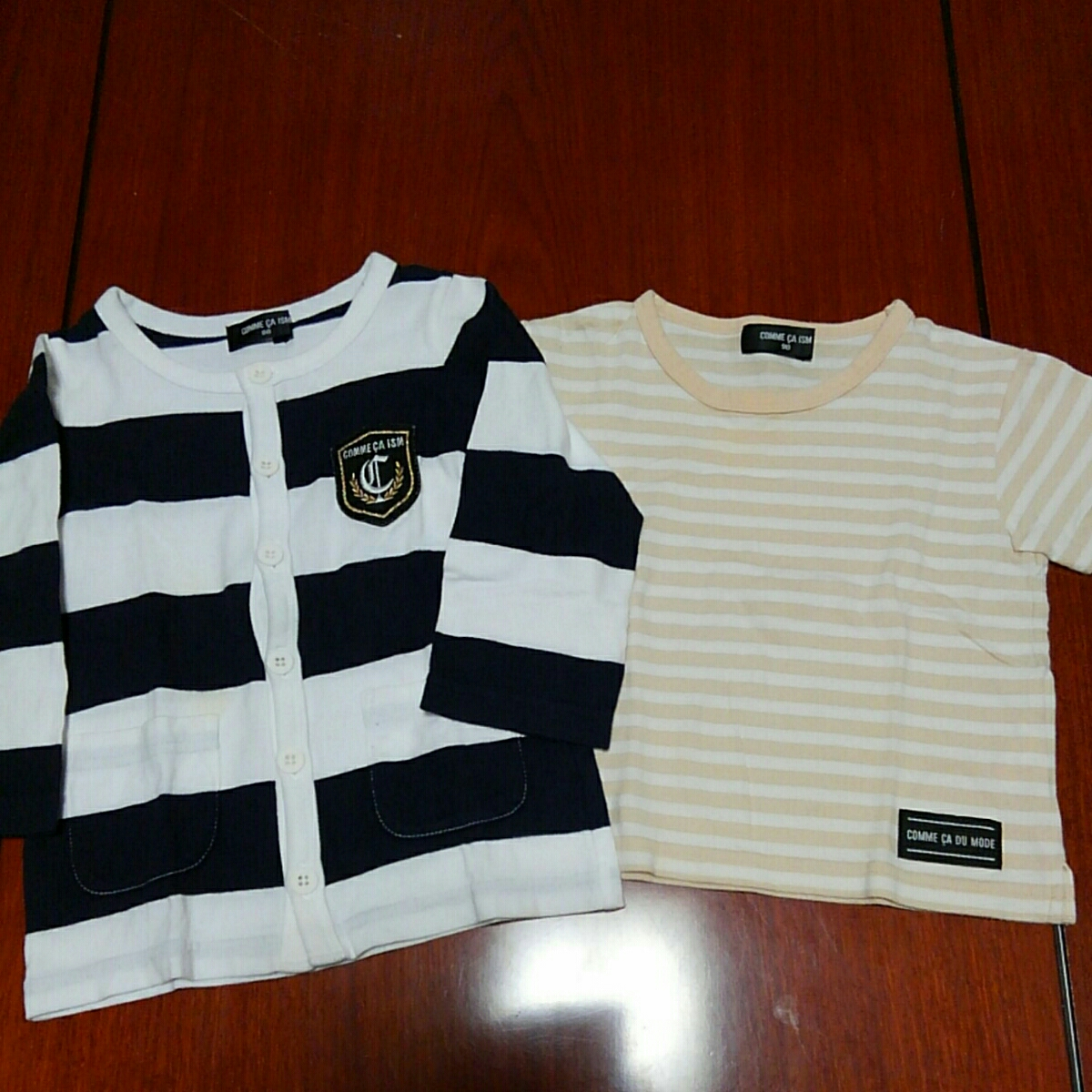 コムサイズム/COMME CA ISM カットソーカーディガン 80㎝ 半袖Tシャツ 90㎝ 2枚セット 中古