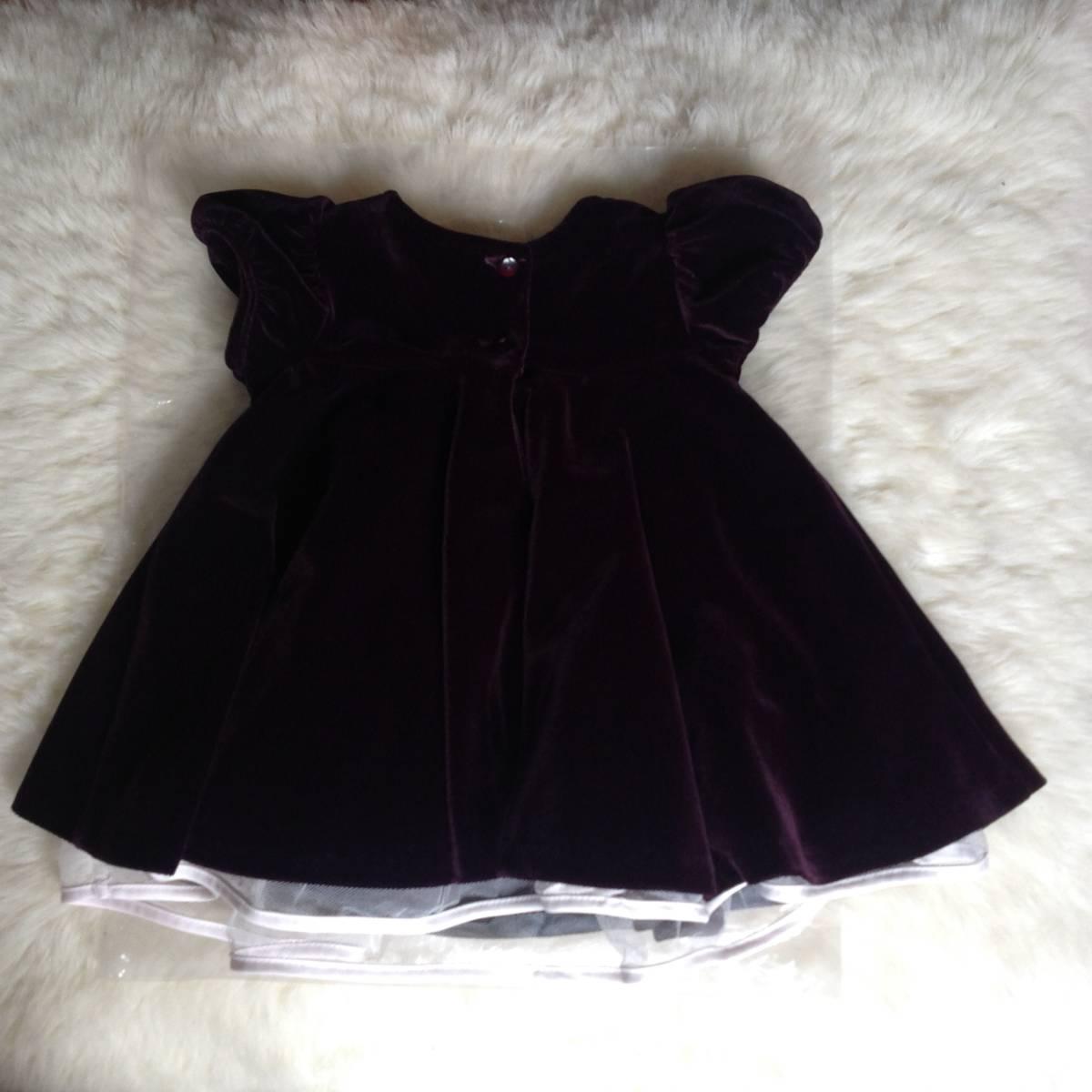 美品 セット イギリス 英国 ジョンルイス ベビー 80cm オフホワイト ケープ パープル 紫 ベルベット ワンピース フォーマル 結婚式 発表会_画像3